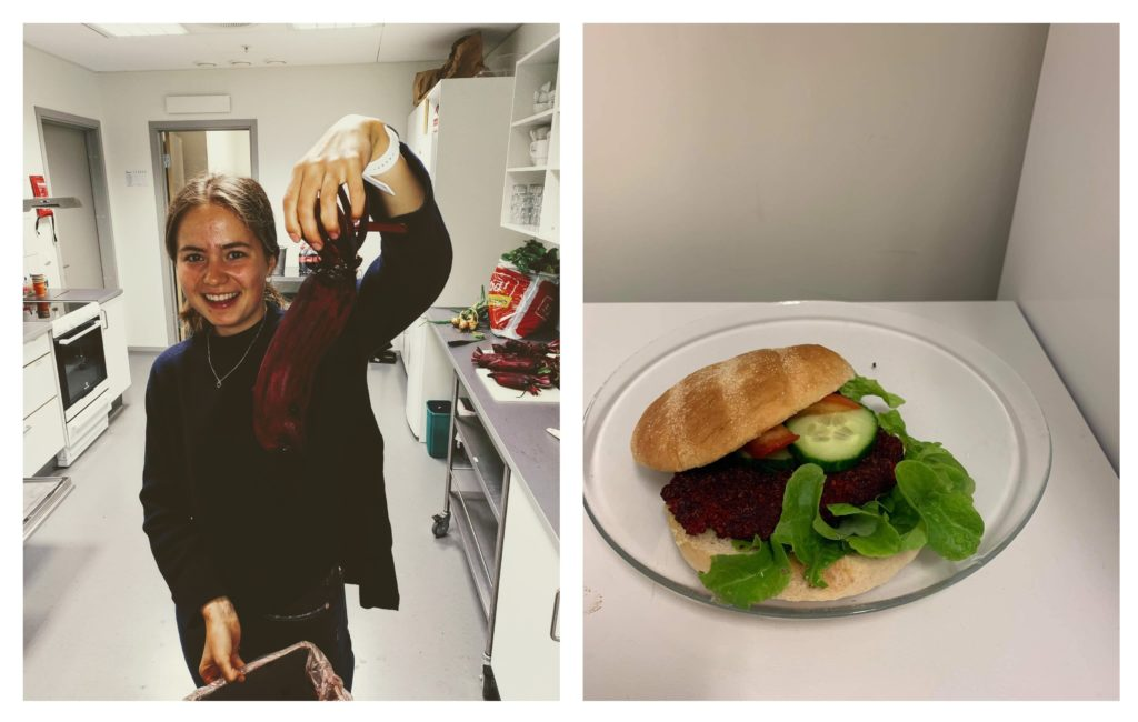 Bogafjell Church youth club member Kamilla Bøe Johnsen with a church-grown beetroot—that later became a vegan beetroot burger.